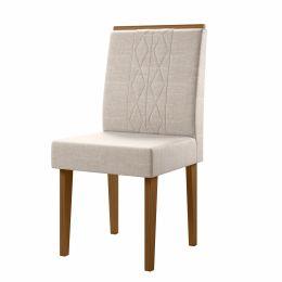 Cadeira Estofada Para Sala de Jantar Damasco / Champagne Cretta