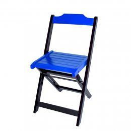 Cadeira para Sorveteria Azul Dobrável Roma - LH Móveis