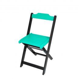 Cadeira para Sorveteria Azul Turquesa Dobrável Roma