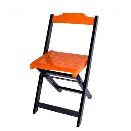 Cadeira para Sorveteria Laranja Dobrável Roma - LH Móveis