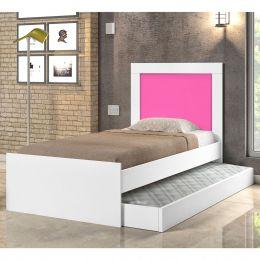 Cama Solteiro Bibox Luara Branco/Rosa