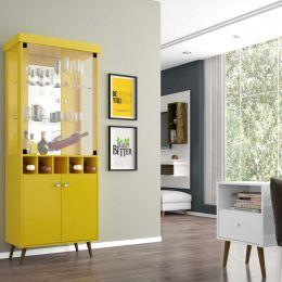 Conjunto Cristaleira Monza com Módulo MB 2014 Amarelo / Branco - Móveis Bechara