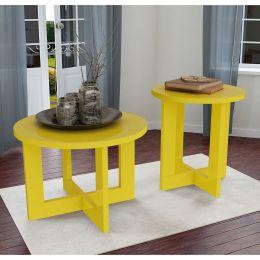 Conjunto mesa de centro com Mesa Lateral Amarelo Brilho 8001-8002 - JB Bechara