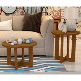 Conjunto mesa de centro com Mesa Lateral Caramelo Madeirado 8001-8002 - JB Bechara