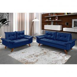 Conjunto Sofás Retrô Bariloche Azul Marinho
