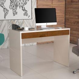 Escrivaninha 2 Gavetas 6080 Pérola/Caramelo