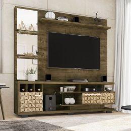 Estante Home para Tv até 60 polegadas Tucson Madeira Rústica / Madeira 3D - Móveis Bechara