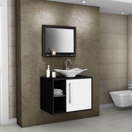 Gabinete com Espelheira Baden Preto / Branco - Móveis Bechara