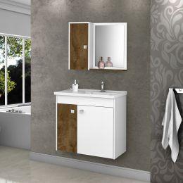 Gabinete com Espelheira Munique Branco / Madeira Rústica - Móveis Bechara