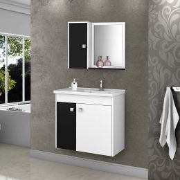 Gabinete com Espelheira Munique Branco / Preto - Móveis Bechara