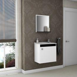 Gabinete com Espelheira Siena Branco / Preto  - Móveis Bechara
