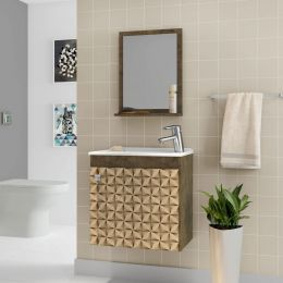 Gabinete com Espelheira Siena Madeira Rustica / Madeira 3D - Moveis Bechara