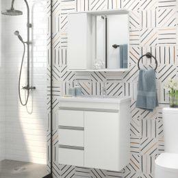 Gabinete com Cuba Para Banheiro Malibu Branco - Fhem Móveis