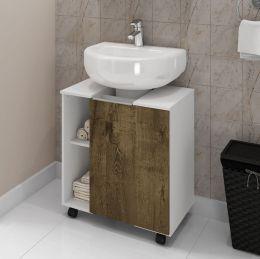 Gabinete para Banheiro Pequin Branco / Madeira Rustica - Moveis Bechara