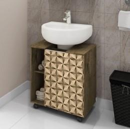 Gabinete para Banheiro Pequin Madeira Rustica / Madeira 3D - Moveis Bechara