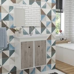 Gabinete com Cuba Para Banheiro Prisma Carvalho / Branco - Fhem Móveis