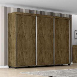 Guarda-Roupa 3 Portas Londres Madeira Rústica - Móveis Bechara