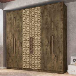 Guarda Roupa 6 Portas Dublin Madeira Rústica / Madeira 3D - Móveis Bechara