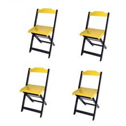 Jogo 4 Cadeiras para Sorveteria Amarelo Dobráveis - LH Móveis