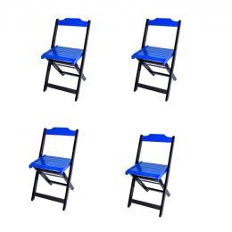 Jogo 4 Cadeiras para Sorveteria Azul Dobráveis - LH Móveis