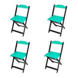 Jogo 4 Cadeiras para Sorveteria Azul Turquesa Dobráveis - LH Móveis