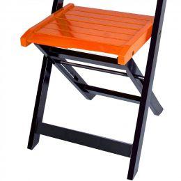Jogo 4 Cadeiras para Sorveteria Laranja Dobráveis