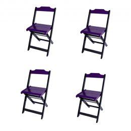 Jogo 4 Cadeiras para Sorveteria Roxo Dobráveis