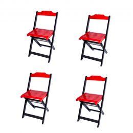 Jogo 4 Cadeiras para Sorveteria Vermelho Dobráveis - LH Móveis