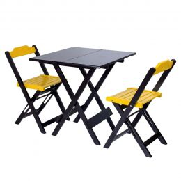 Jogo de Mesa 70x70 para Sorveteria Amarelo com 2 Cadeiras Roma - LH Móveis