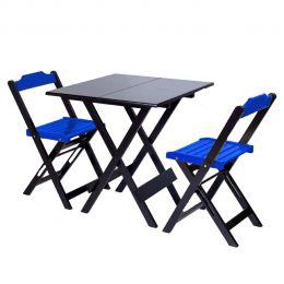Jogo de Mesa 70x70 para Sorveteria Azul com 2 Cadeiras Roma - LH Móveis