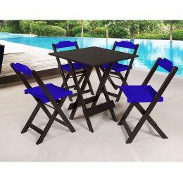 Jogo de Mesa 70x70 para Sorveteria Azul com 4 Cadeiras Roma - LH Móveis