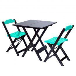 Jogo de Mesa 70x70 para Sorveteria Azul Turquesa com 2 Cadeiras Roma - LH Móveis