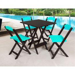 Jogo de Mesa 70x70 para Sorveteria Azul Turquesa com 4 Cadeiras Roma - LH Móveis