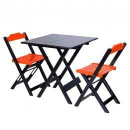 Jogo de Mesa 70x70 para Sorveteria Laranja com 2 Cadeiras Roma - LH Móveis