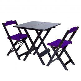 Jogo de Mesa 70x70 para Sorveteria Roxo com 2 Cadeiras Roma - LH Móveis
