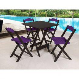 Jogo de Mesa 70x70 para Sorveteria Roxo com 4 Cadeiras Roma - LH Móveis