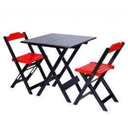 Jogo de Mesa 70x70 para Sorveteria Vermelho com 2 Cadeiras Roma - LH Móveis
