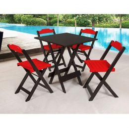 Jogo de Mesa 70x70 para Sorveteria Vermelho com 4 Cadeiras Roma - LH Móveis