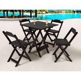 Jogo de Mesa 70x70 Tabaco com 4 Cadeiras Roma - LH Móveis