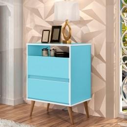 Mesa de Cabeceira Lotus 2 Gavetas Azul - J.A Móveis