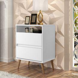 Mesa de Cabeceira Lotus 2 Gavetas Branco - J.A Móveis