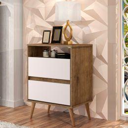 Mesa de Cabeceira Lotus 2 Gavetas Jequitibá / Off White - J.A Móveis