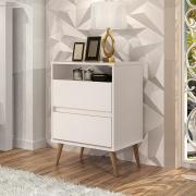 Mesa de Cabeceira Lotus 2 Gavetas Off White - J.A Móveis