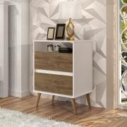 Mesa de Cabeceira Lotus 2 Gavetas Off White / Jequitibá - J.A Móveis