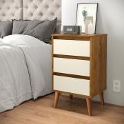 Mesa de Cabeceira Wood Freijó / Off White - EJ Móveis