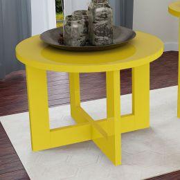 Mesa de Centro Redonda Amarelo Brilho 8001 - JB Bechara