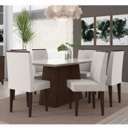 Mesa de Jantar Com 6 Cadeiras Álamo / Off White Positano
