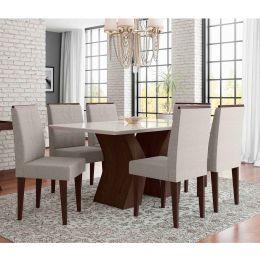 Mesa de Jantar Com 6 Cadeiras Álamo / Off White Santorini
