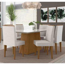 Mesa de Jantar Com 6 Cadeiras Damasco / Off White Positano