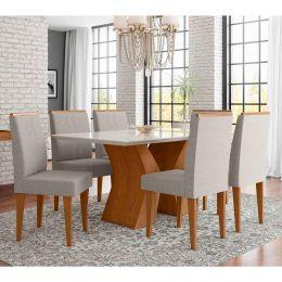 Mesa de Jantar Com 6 Cadeiras Damasco / Off White Santorini
